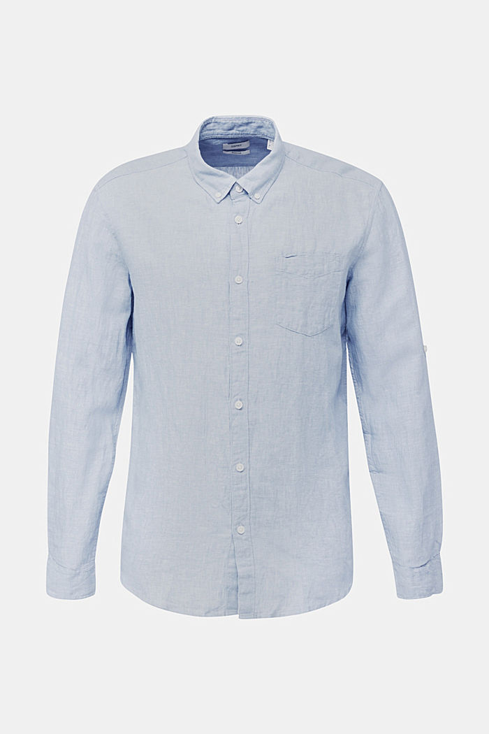 Aus Leinen-Mix: Button-Down-Hemd, LIGHT BLUE, overview