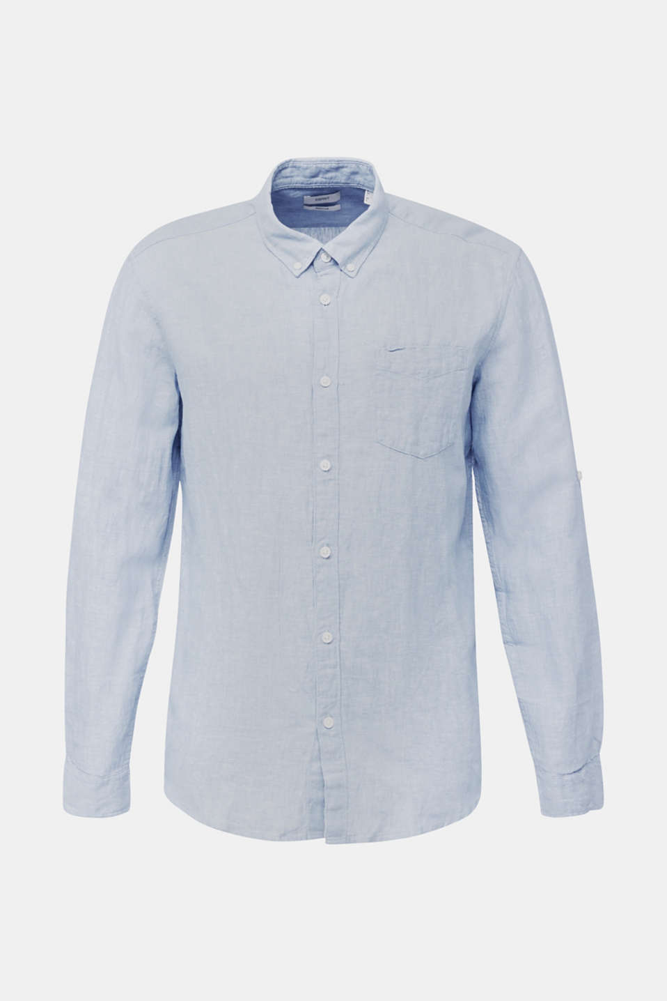 Made of blended linen: shirt with turn-up sleeves, LIGHT BLUE 5, detail image number 5