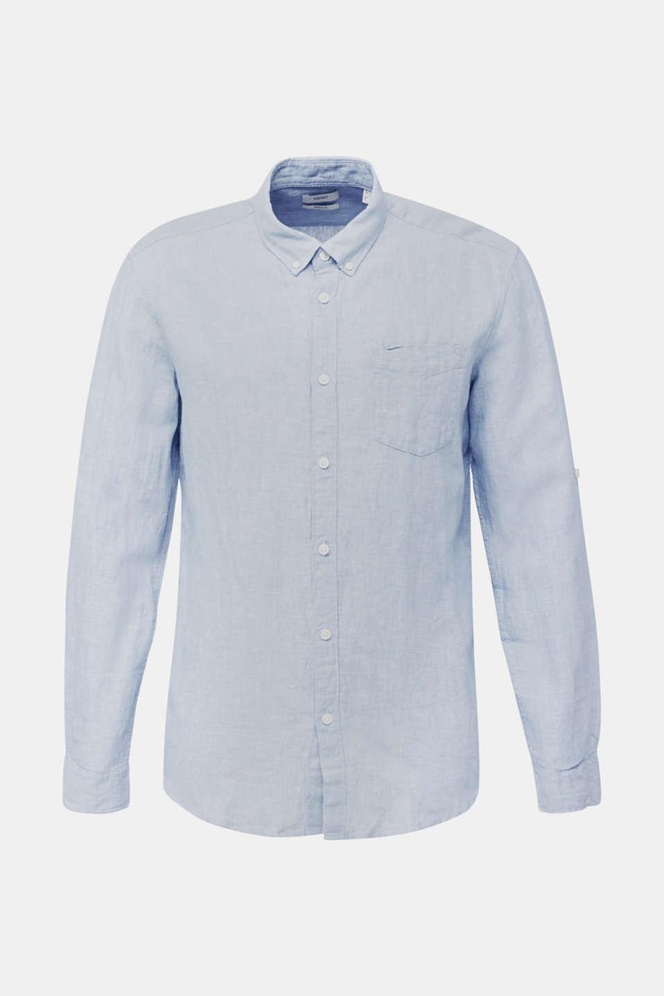 Linen blend: button-down shirt, LIGHT BLUE 5, detail image number 5