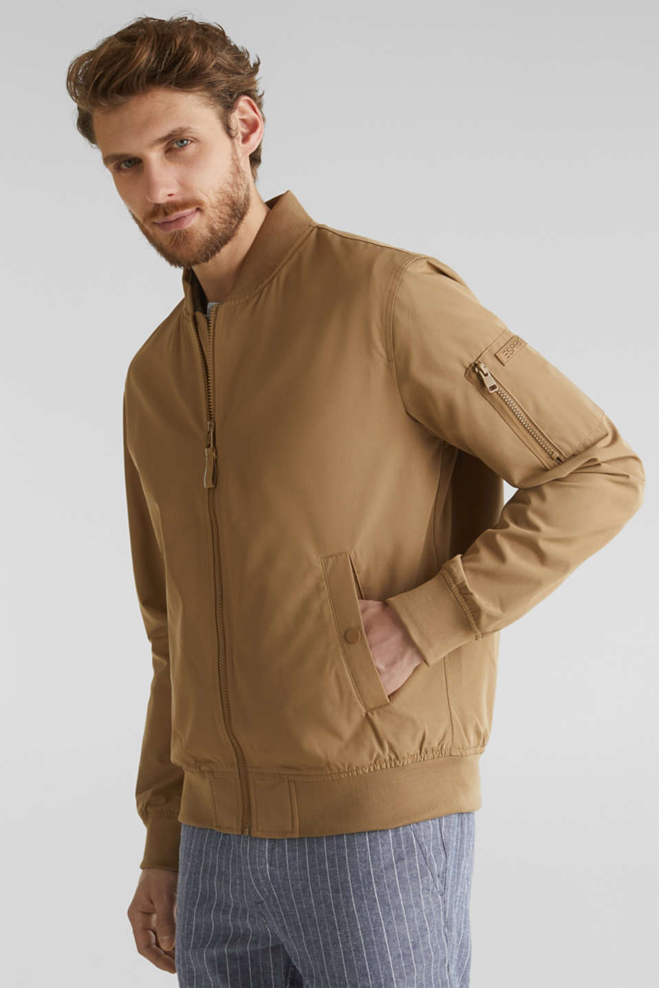 Bomber jacket with ribbed cuffs and hem, BEIGE, detail image number 0