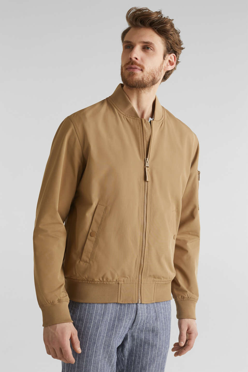 Bomber jacket with ribbed cuffs and hem, BEIGE, detail image number 4