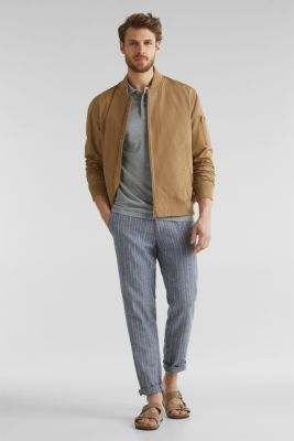 Bomber jacket with ribbed cuffs and hem, BEIGE, detail