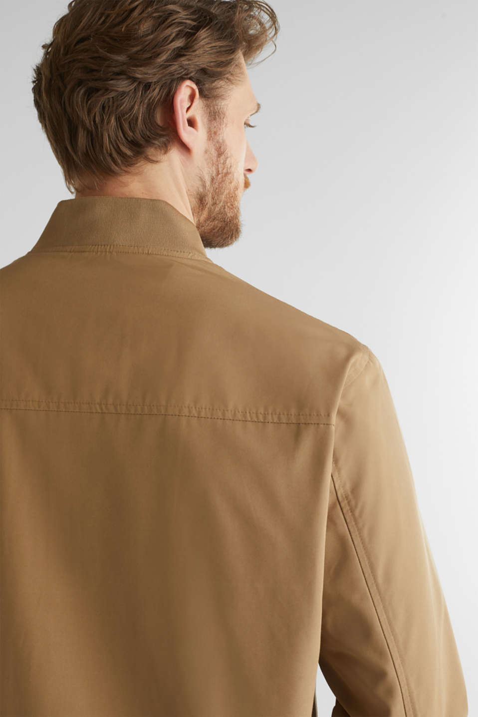 Bomber jacket with ribbed cuffs and hem, BEIGE, detail image number 2