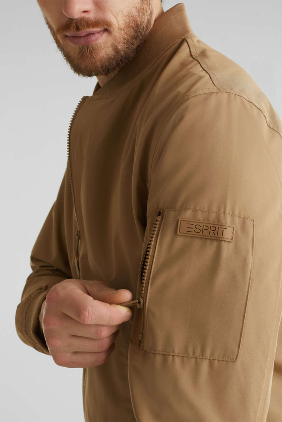 Bomber jacket with ribbed cuffs and hem, BEIGE, detail image number 7