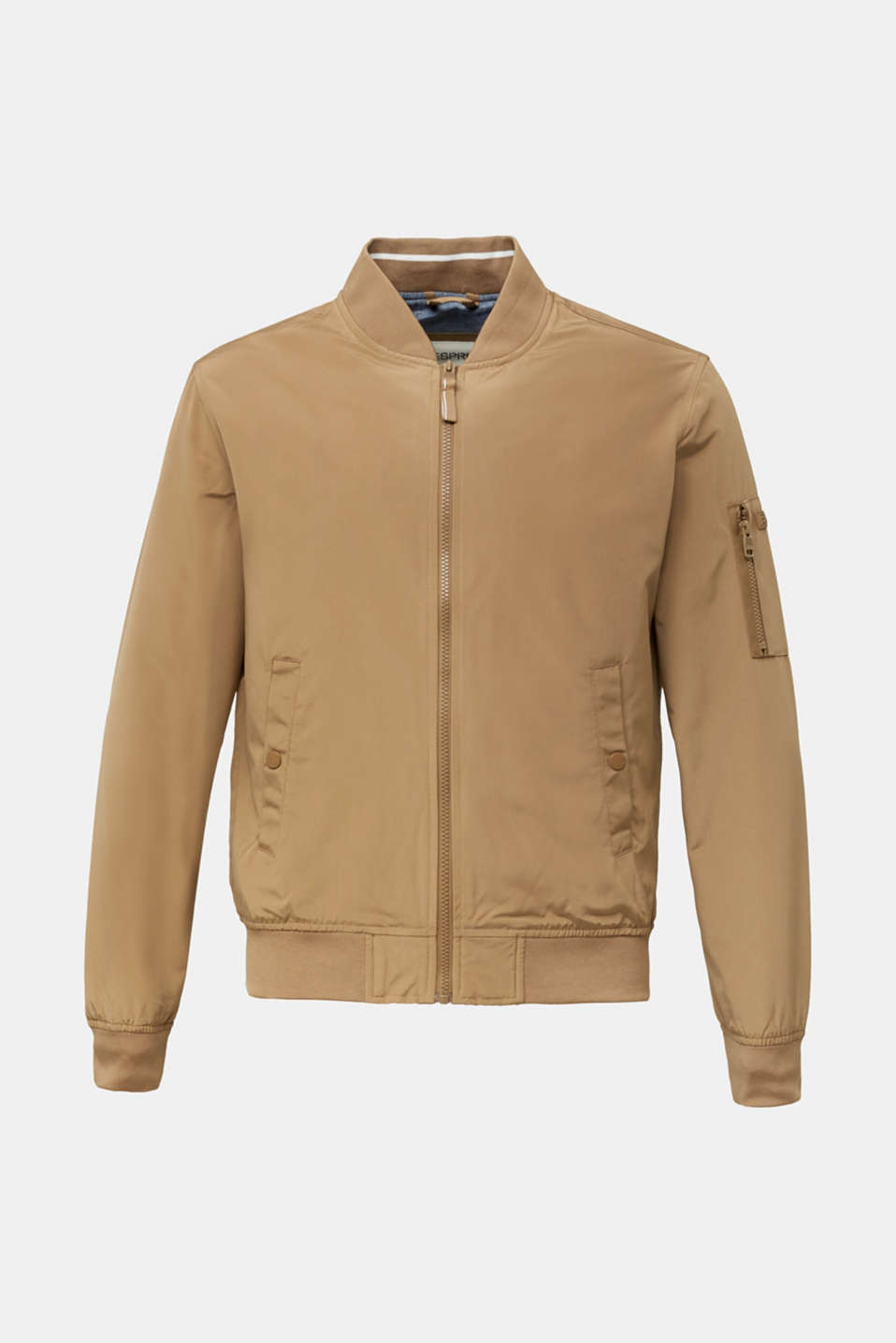 Bomber jacket with ribbed cuffs and hem, BEIGE, detail image number 8