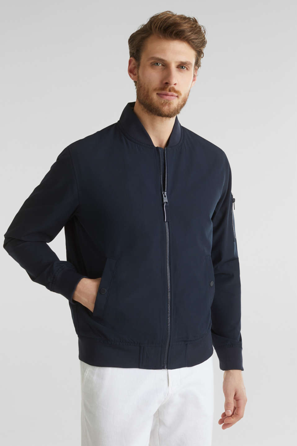 Esprit - Bomber jacket with ribbed cuffs and hem