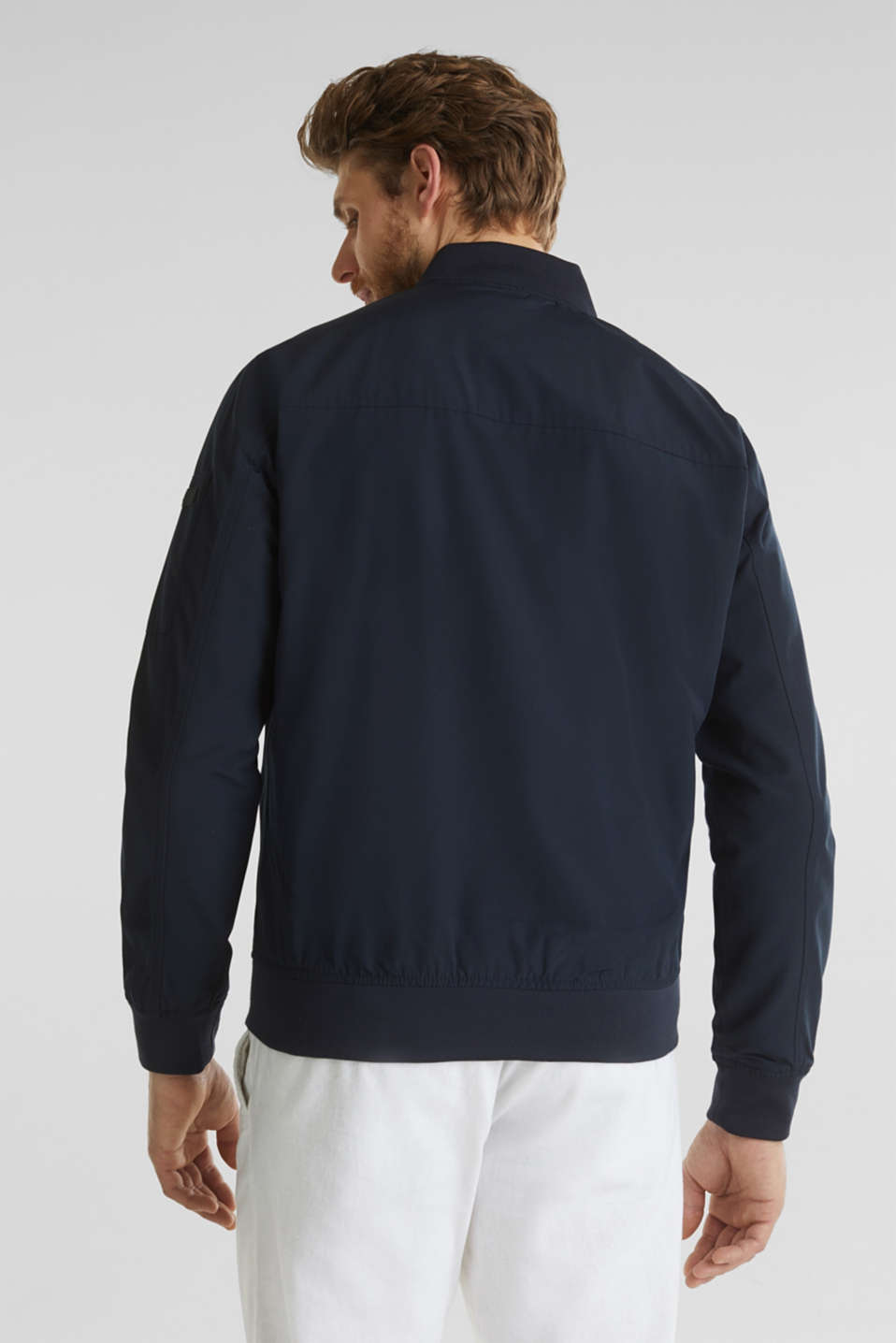 Bomber jacket with ribbed cuffs and hem, DARK BLUE, detail image number 3