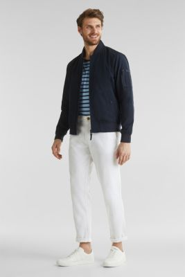 Bomber jacket with ribbed cuffs and hem, DARK BLUE, detail