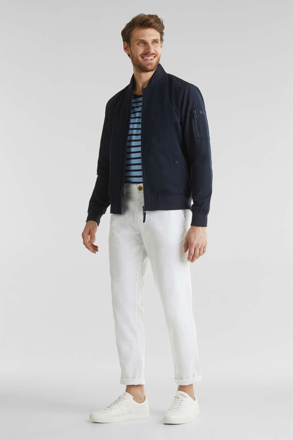 Bomber jacket with ribbed cuffs and hem, DARK BLUE, detail image number 1