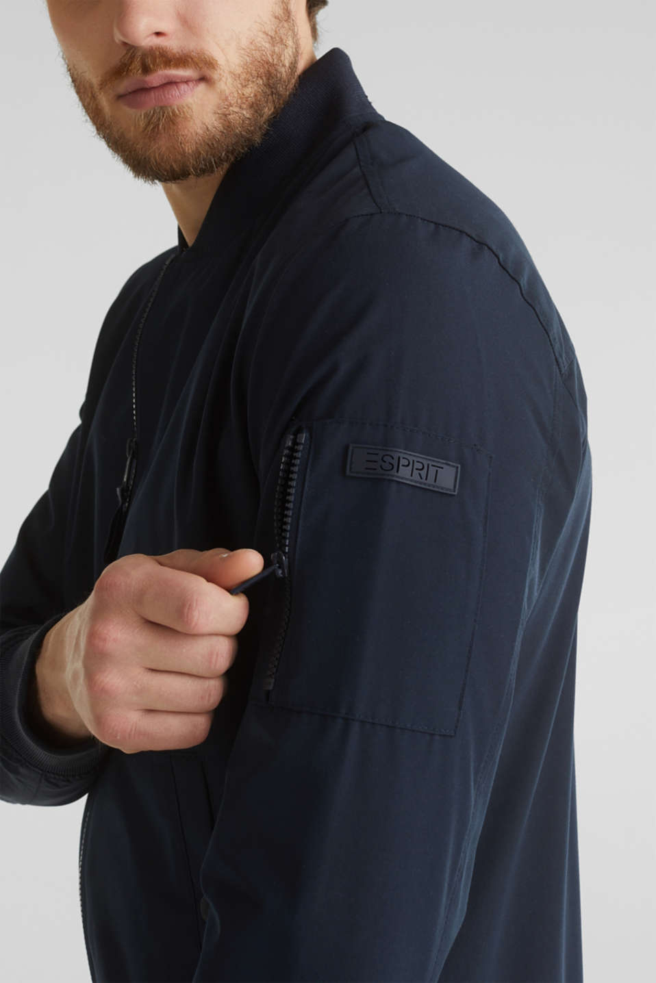 Bomber jacket with ribbed cuffs and hem, DARK BLUE, detail image number 2