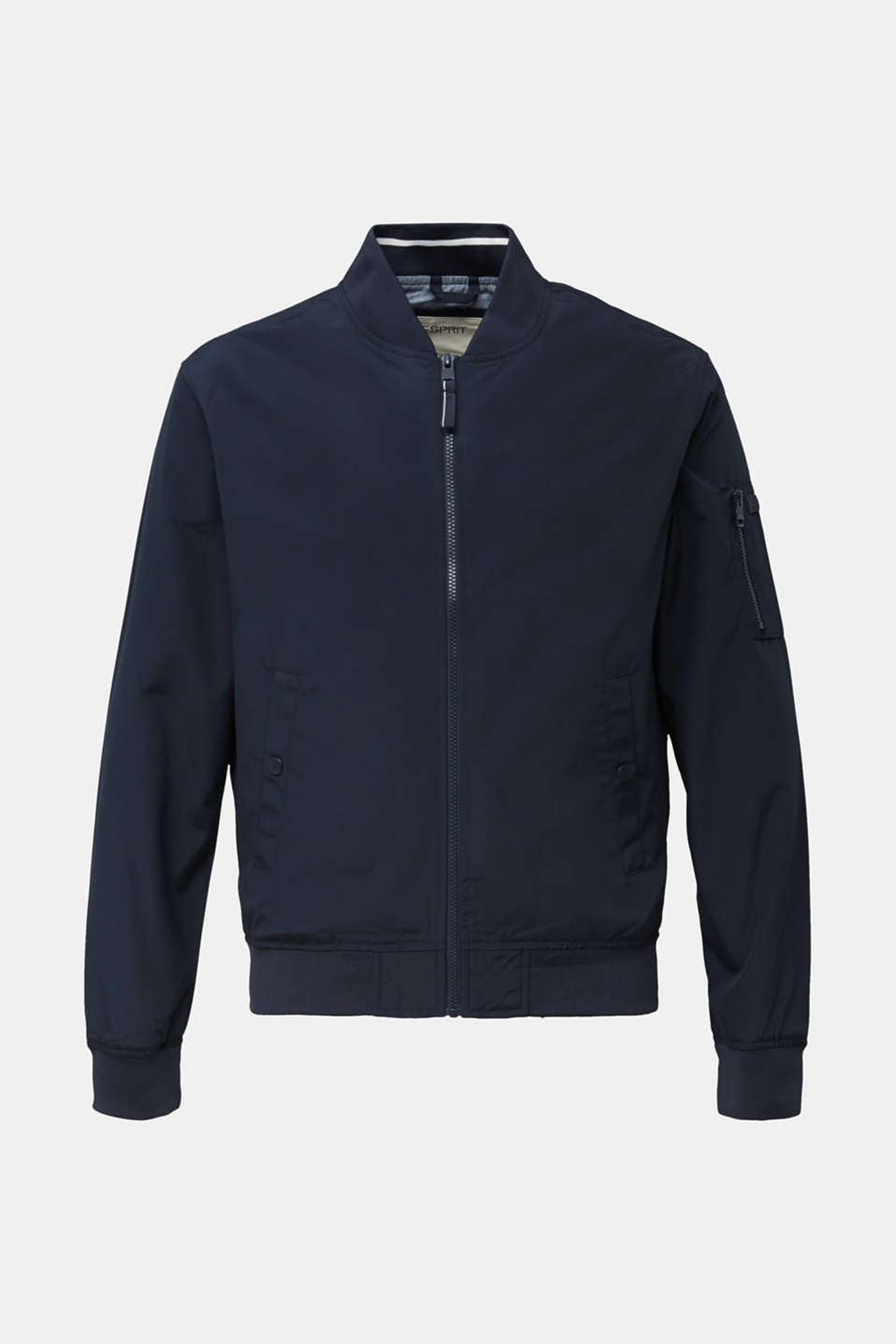 Bomber jacket with ribbed cuffs and hem, DARK BLUE, detail image number 6