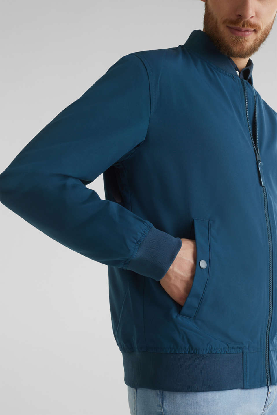Bomber jacket with ribbed cuffs and hem, PETROL BLUE, detail image number 6
