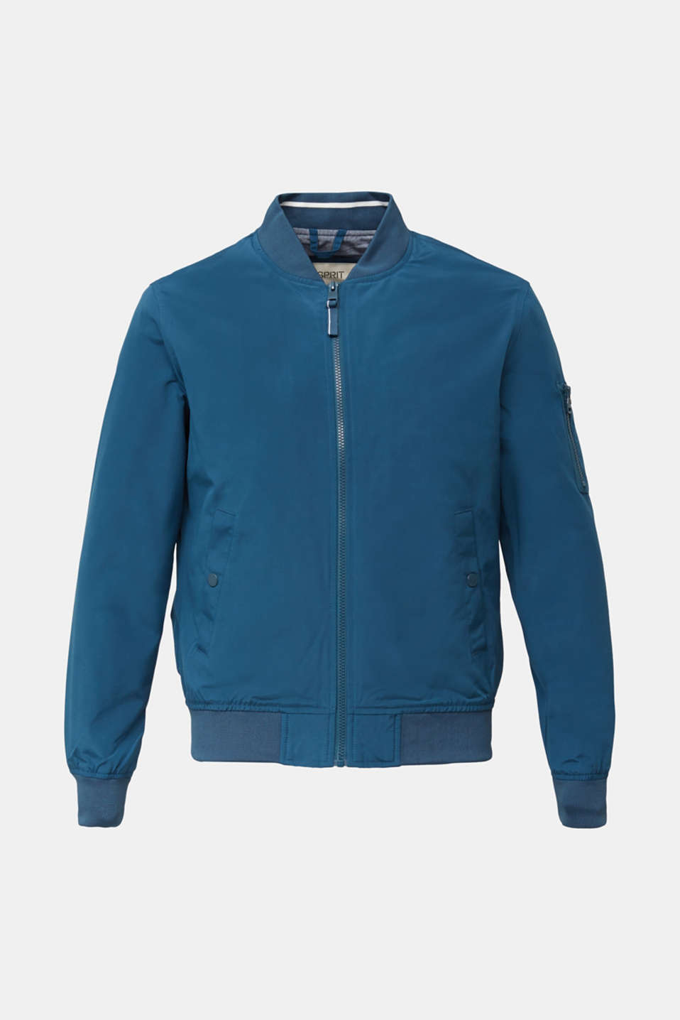 Bomber jacket with ribbed cuffs and hem, PETROL BLUE, detail image number 7