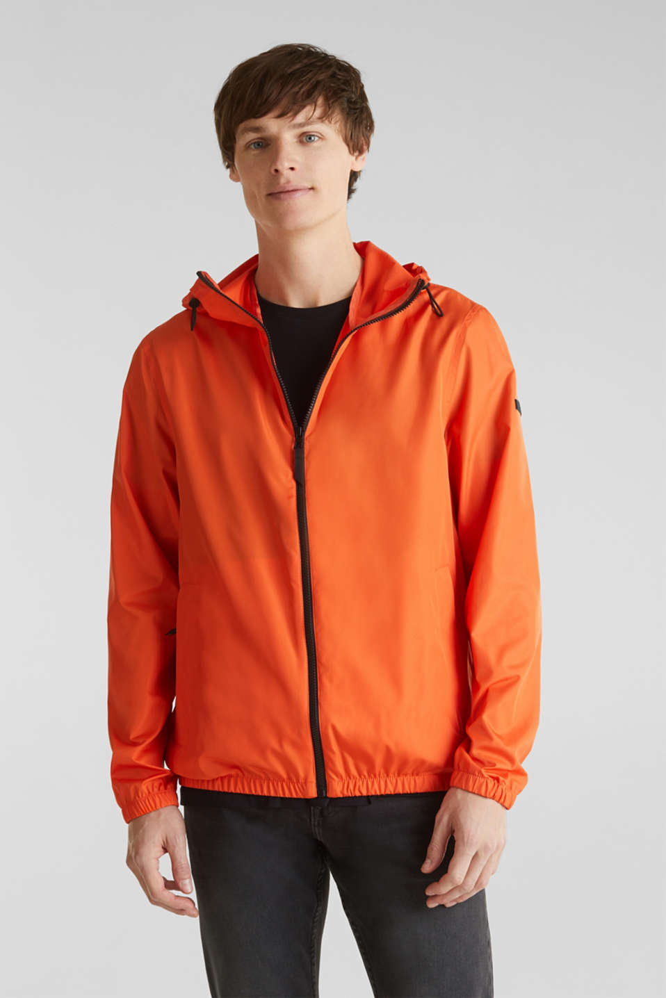 Windbreaker with hood, BRIGHT ORANGE, detail image number 0