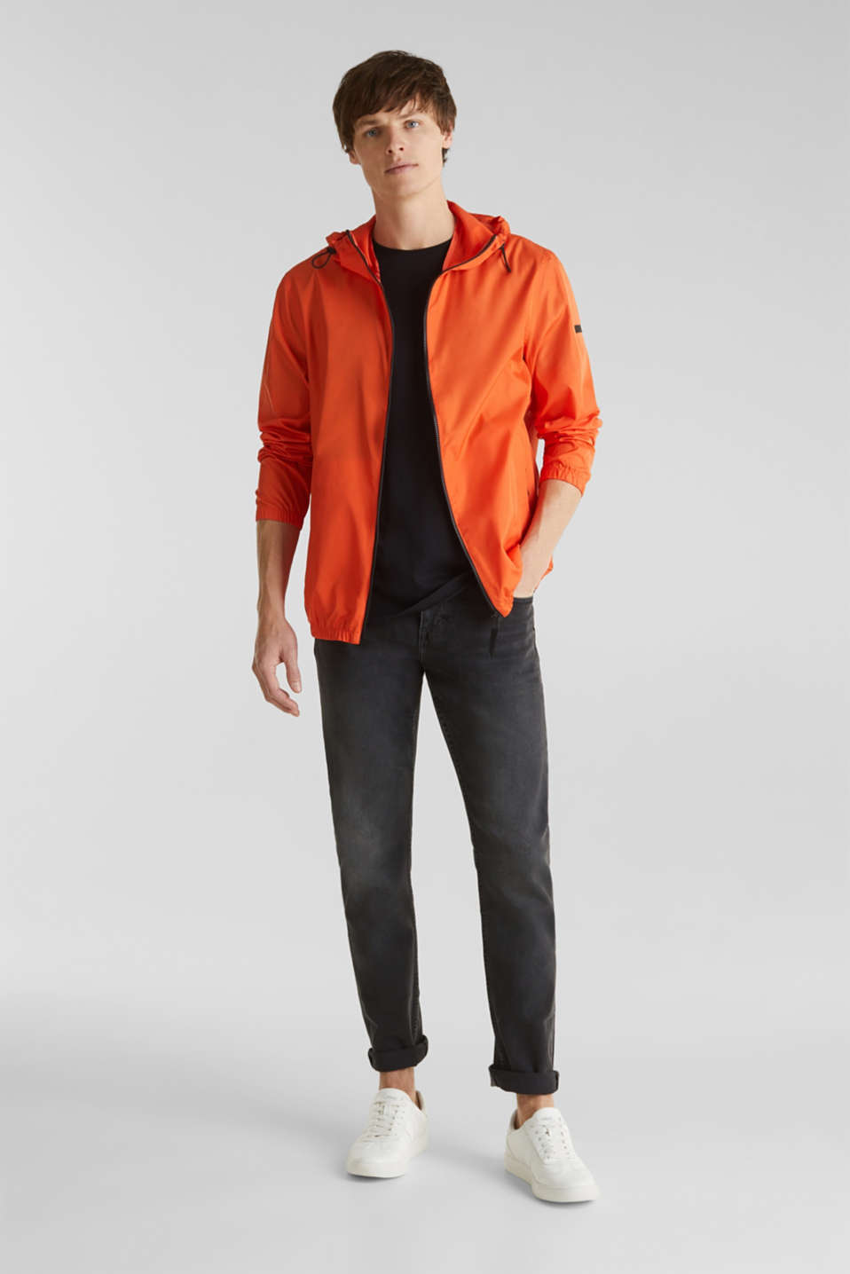 Windbreaker with hood, BRIGHT ORANGE, detail image number 1