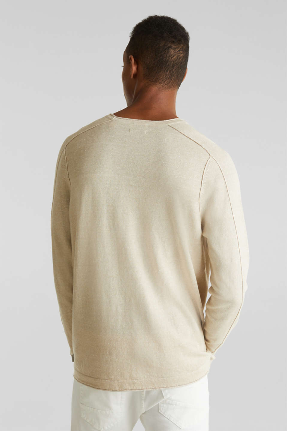 Made of blended linen: Sweatshirt with inside-out seams, BEIGE 5, detail image number 3