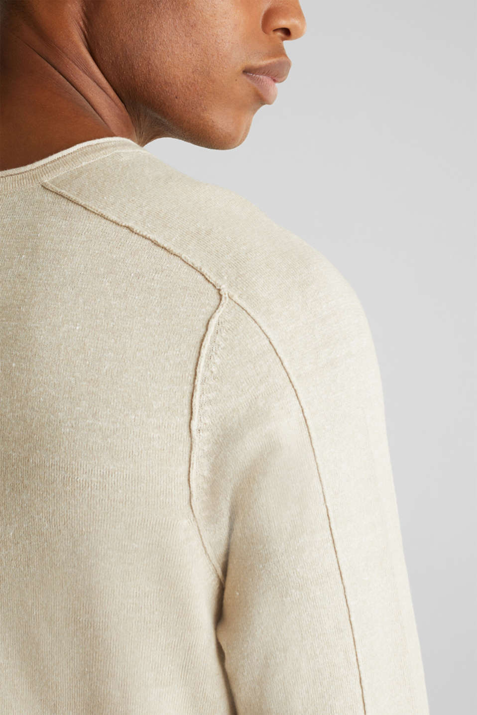 Made of blended linen: Sweatshirt with inside-out seams, BEIGE 5, detail image number 2