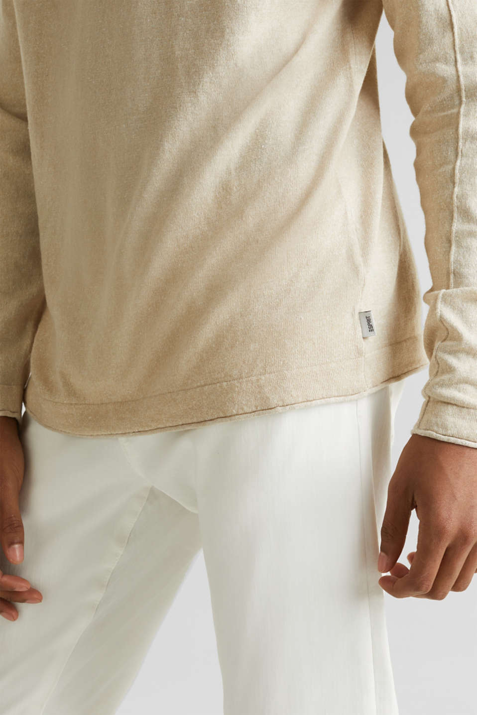 Made of blended linen: Sweatshirt with inside-out seams, BEIGE 5, detail image number 4