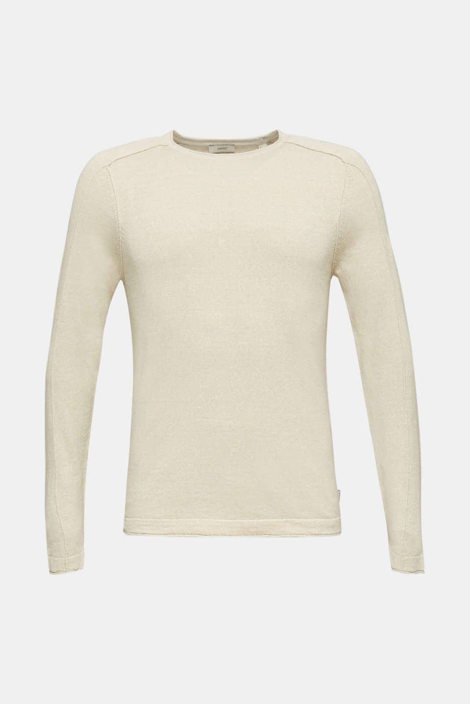 Made of blended linen: Sweatshirt with inside-out seams, BEIGE 5, detail image number 5