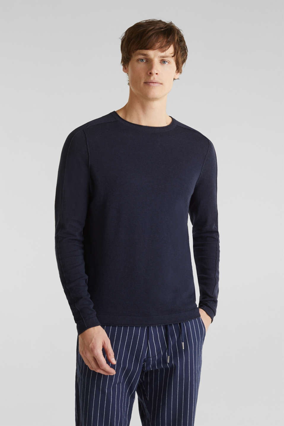 Made of blended linen: Sweatshirt with inside-out seams, NAVY, detail image number 0