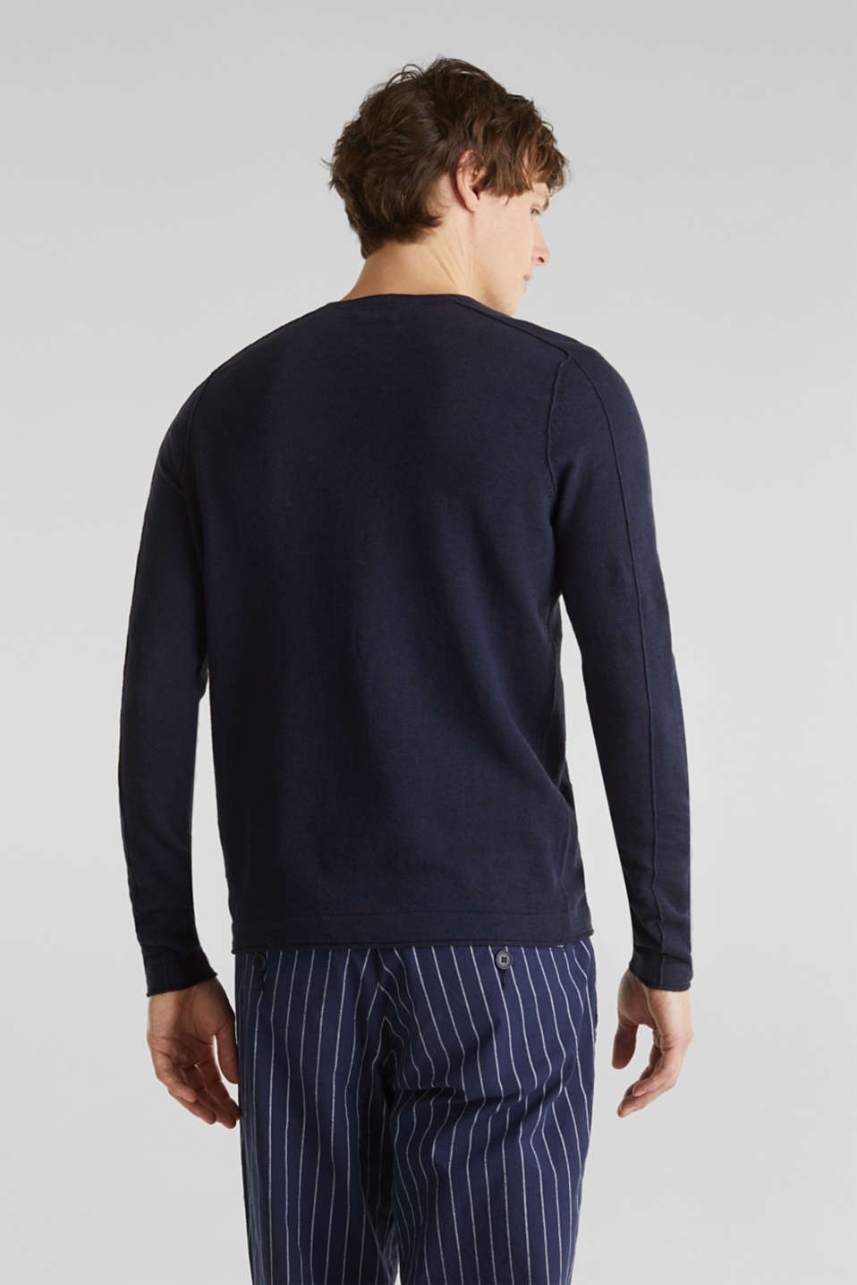 Made of blended linen: Sweatshirt with inside-out seams, NAVY, detail image number 3