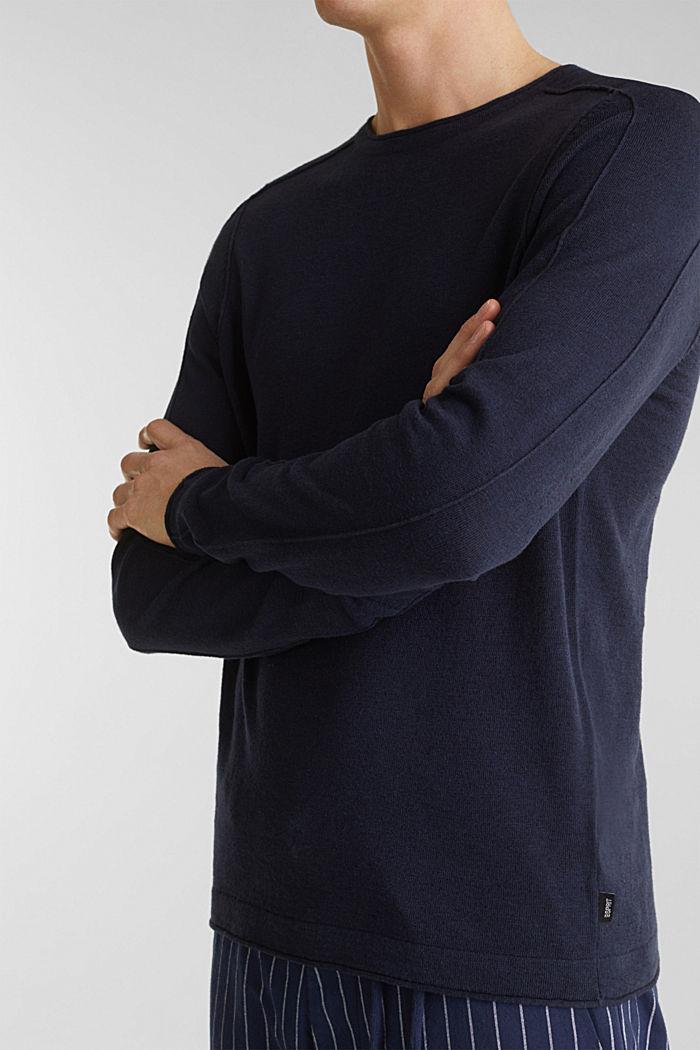 Van een linnenmix: sweatshirt met inside-outnaden, NAVY, detail image number 2