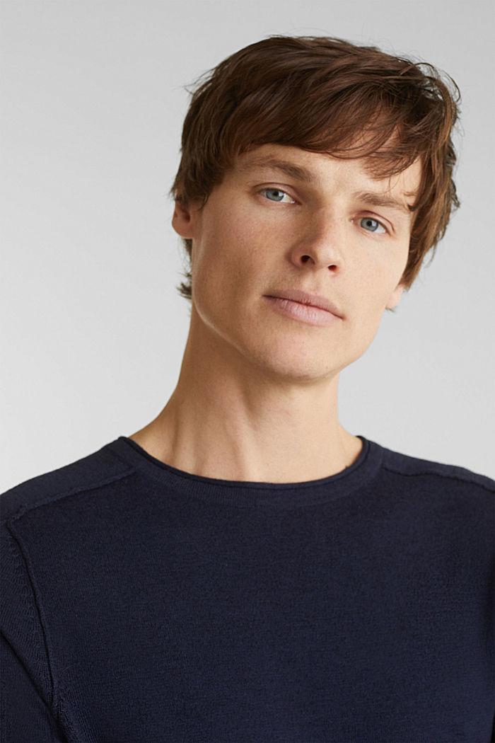 Van een linnenmix: sweatshirt met inside-outnaden, NAVY, detail image number 5