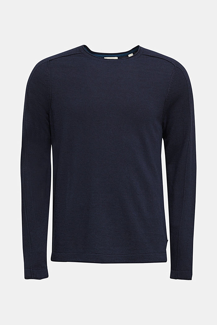 Van een linnenmix: sweatshirt met inside-outnaden, NAVY, detail image number 6