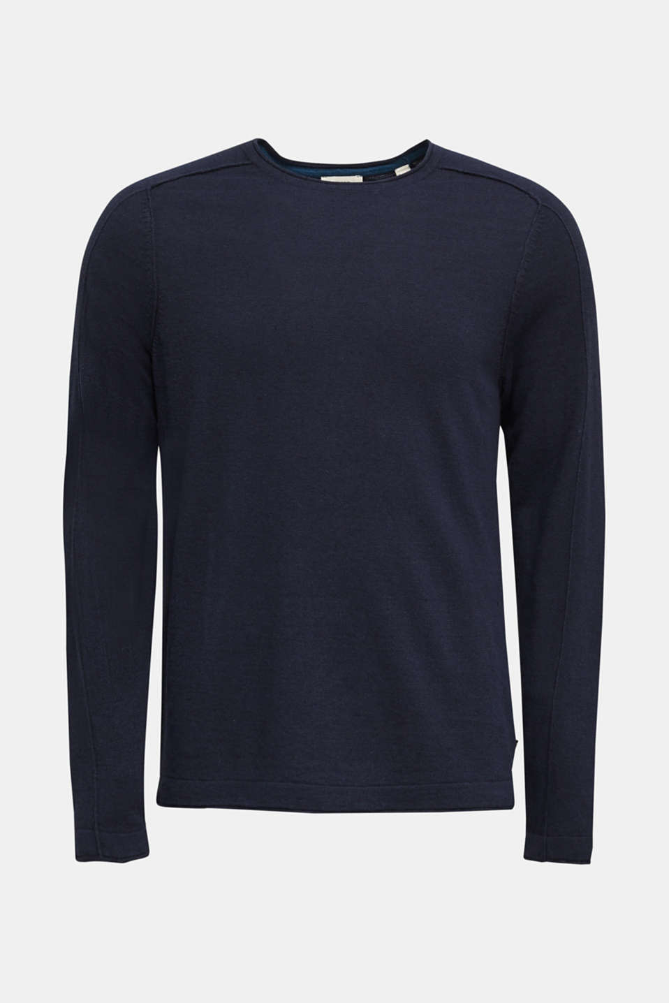 Made of blended linen: Sweatshirt with inside-out seams, NAVY, detail image number 6