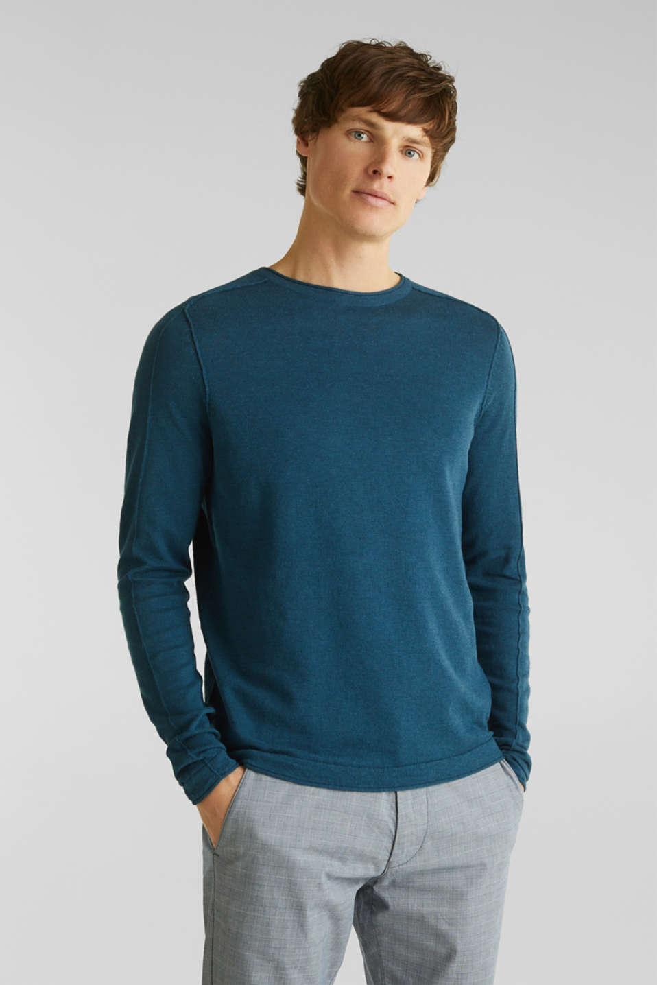 Made of blended linen: Sweatshirt with inside-out seams, PETROL BLUE, detail image number 0