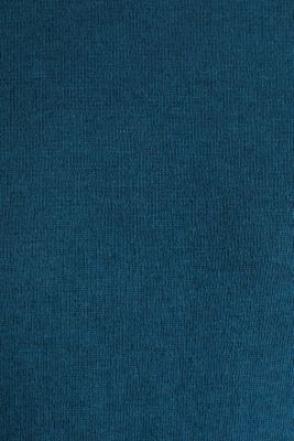 Made of blended linen: Sweatshirt with inside-out seams, PETROL BLUE, detail