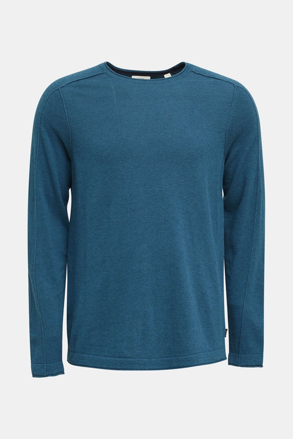 Made of blended linen: Sweatshirt with inside-out seams, PETROL BLUE, detail image number 7