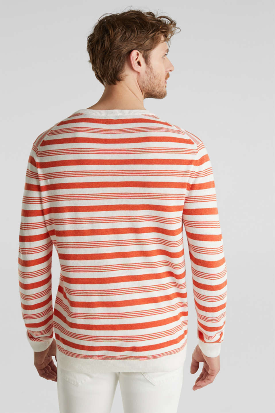 Striped jumper in blended linen, OFF WHITE 3, detail image number 3