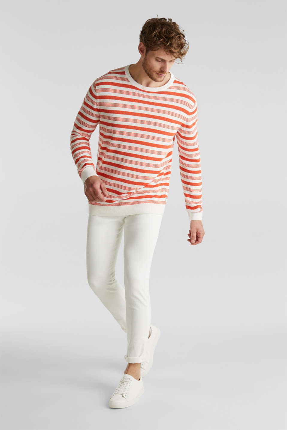 Striped jumper in blended linen, OFF WHITE 3, detail image number 1