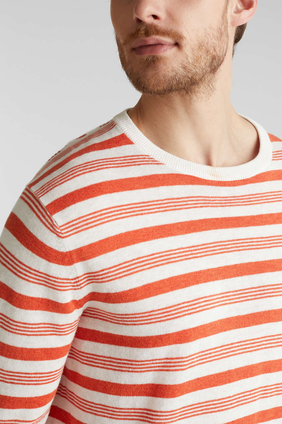 Striped jumper in blended linen, OFF WHITE 3, detail image number 2