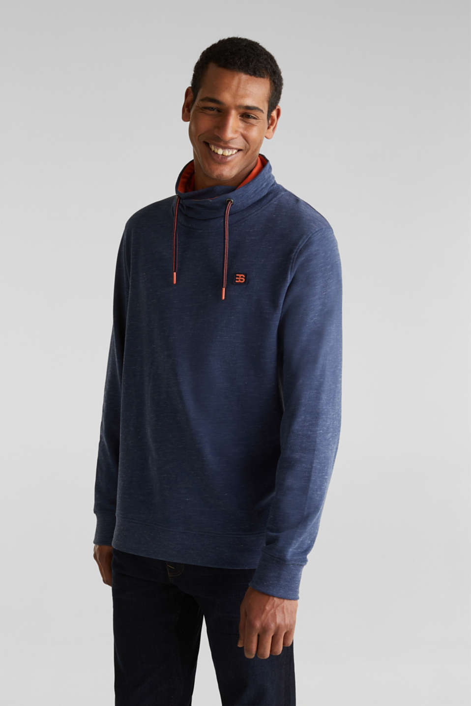 Sweatshirt with a two-tone drawstring collar, NAVY 5, detail image number 0