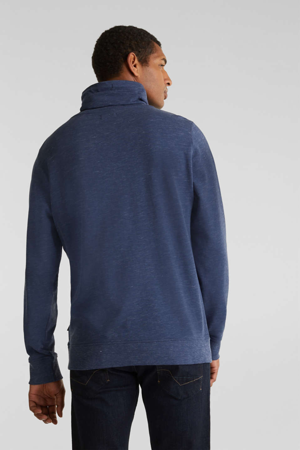 Sweatshirt with a two-tone drawstring collar, NAVY 5, detail image number 3