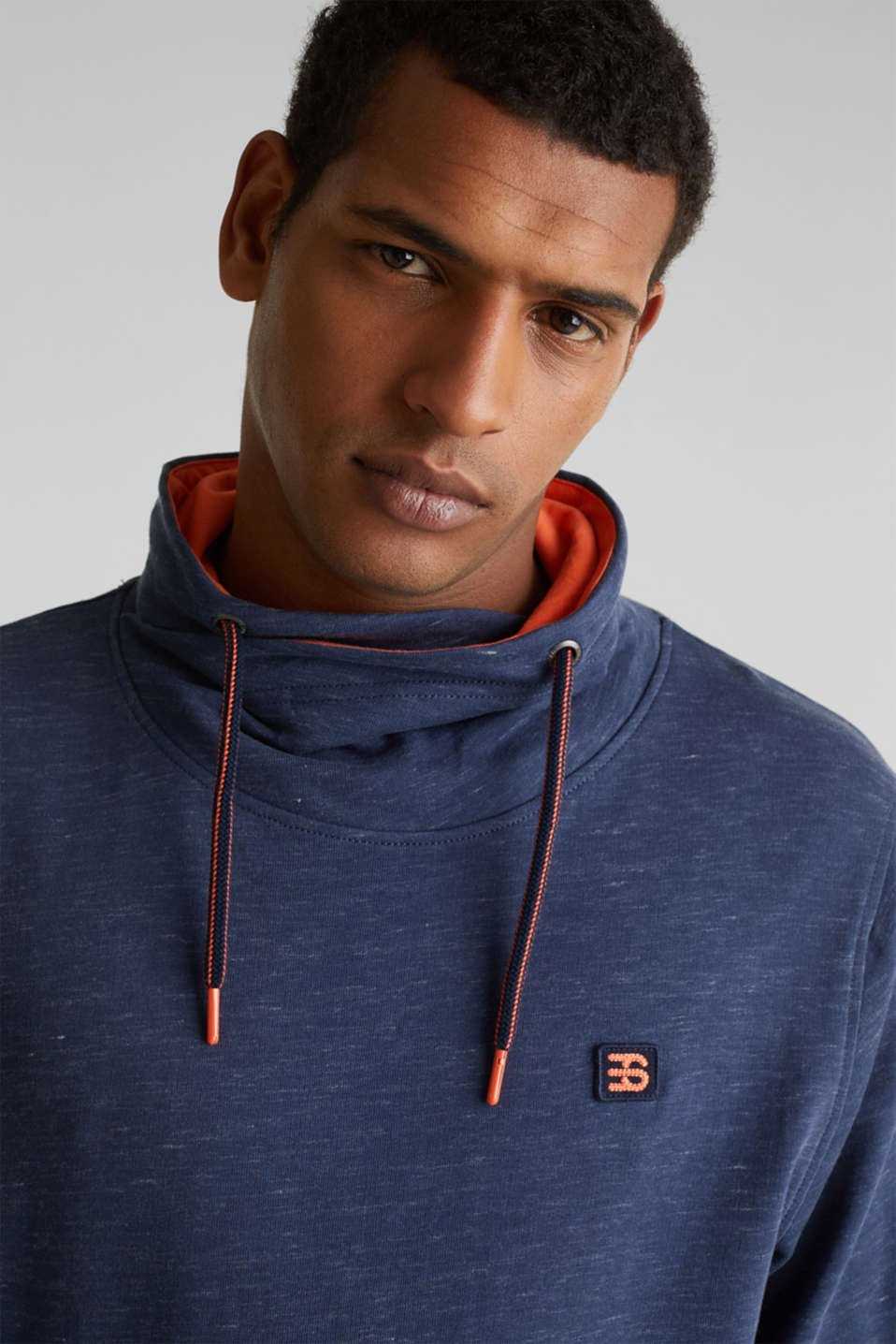 Sweatshirt with a two-tone drawstring collar, NAVY 5, detail image number 2