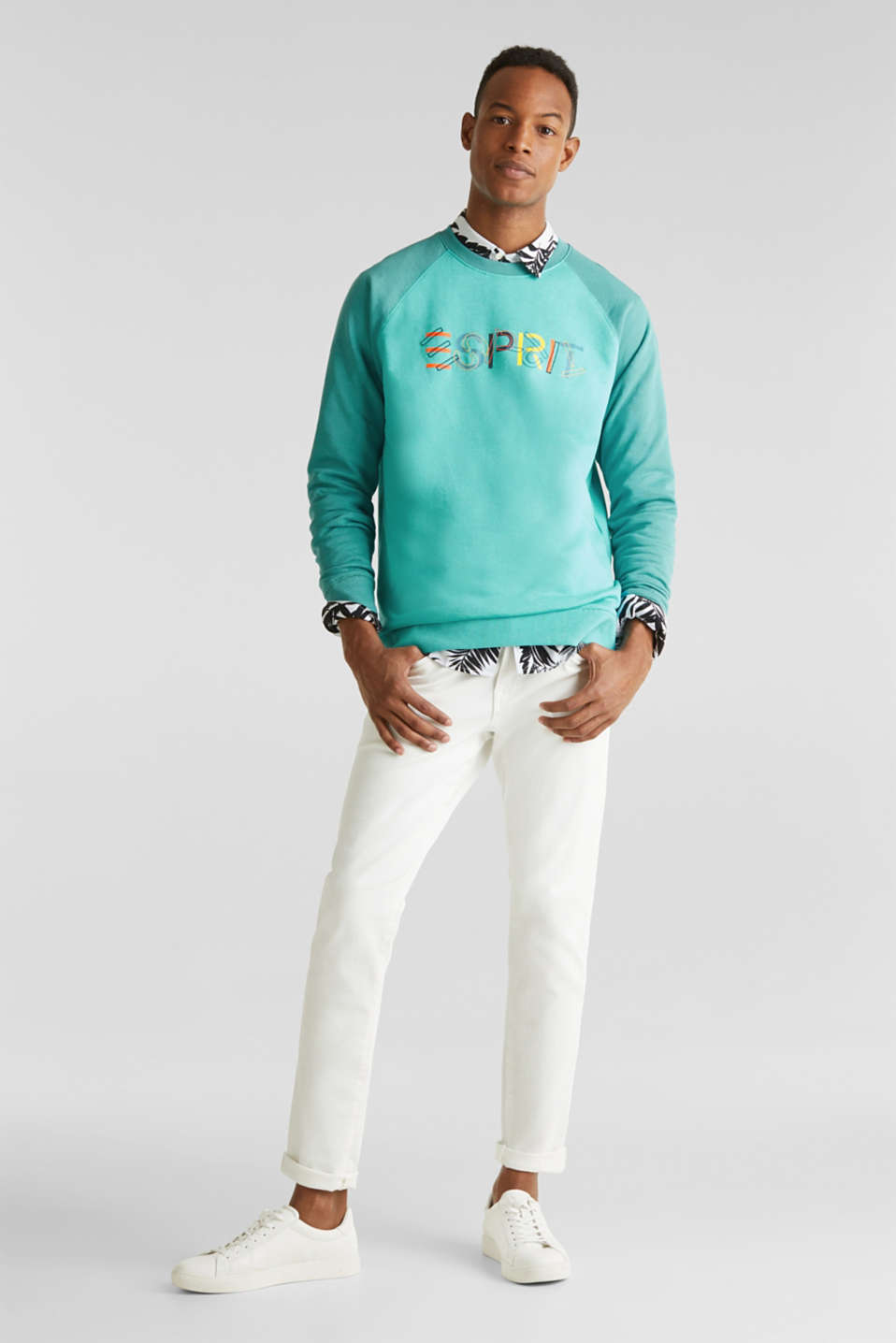 Colour block sweatshirt with logo motifs, LIGHT TURQUOISE 5, detail image number 1
