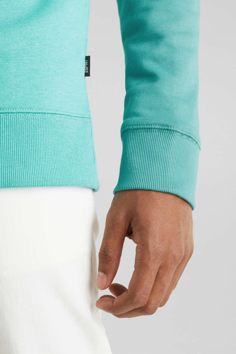 Colour block sweatshirt with logo motifs, LIGHT TURQUOISE 5, detail image number 4