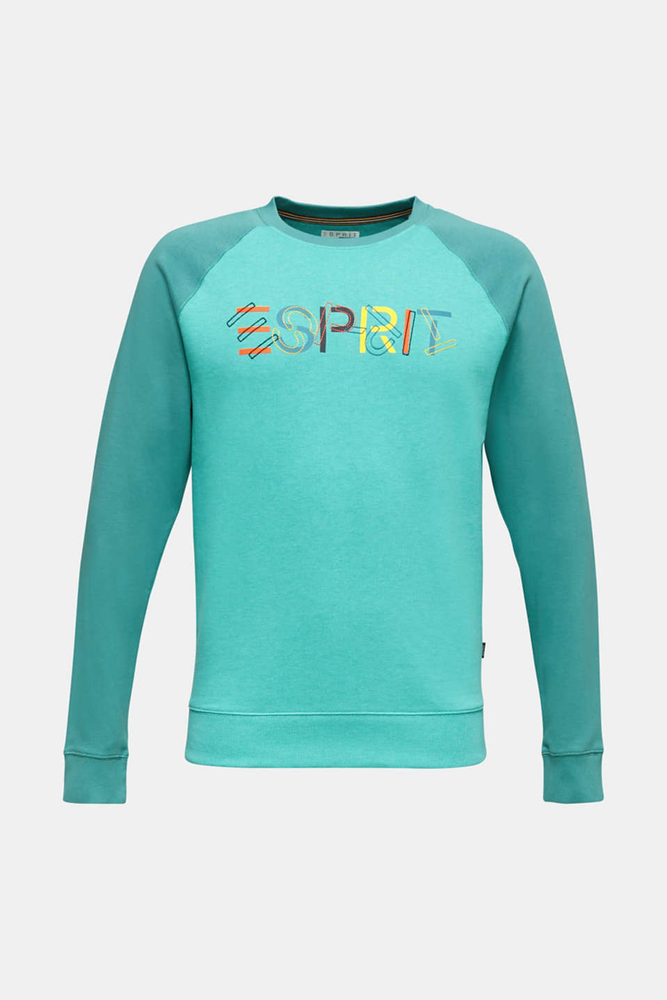 Colour block sweatshirt with logo motifs, LIGHT TURQUOISE 5, detail image number 5