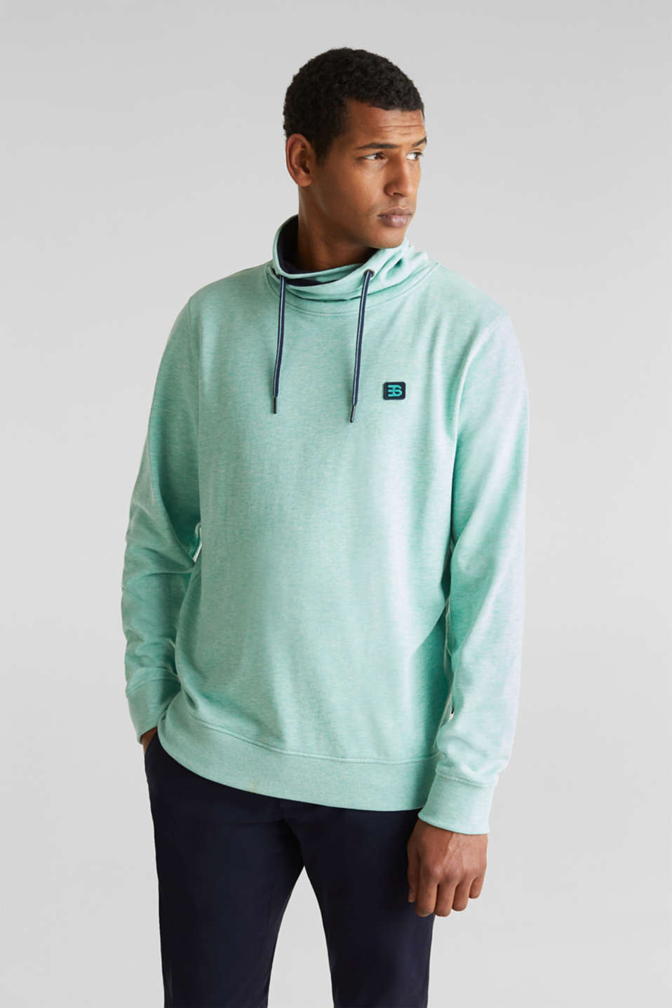 Sweatshirt with a two-tone drawstring collar, LIGHT TURQUOISE 5, detail image number 0
