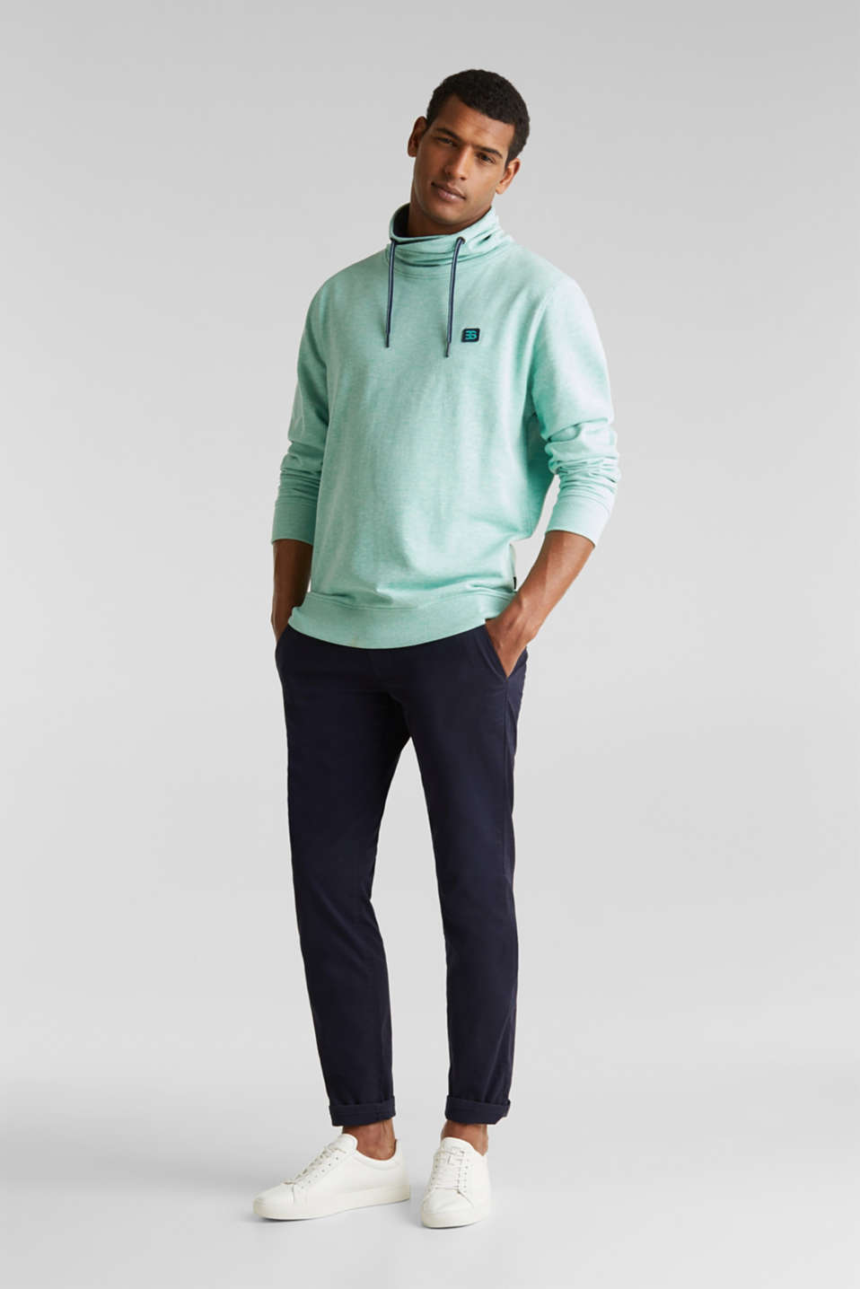 Sweatshirt with a two-tone drawstring collar, LIGHT TURQUOISE 5, detail image number 1