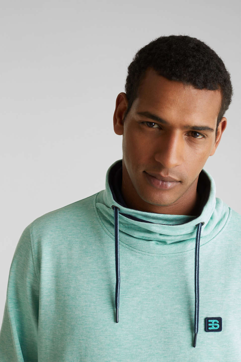 Sweatshirt with a two-tone drawstring collar, LIGHT TURQUOISE 5, detail image number 2
