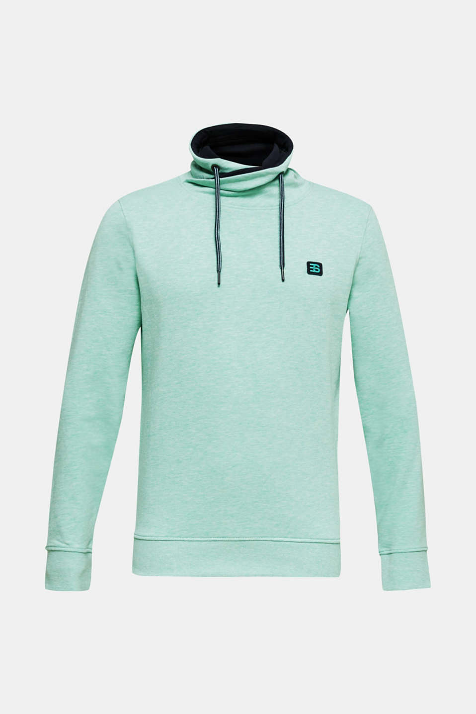 Sweatshirt with a two-tone drawstring collar, LIGHT TURQUOISE 5, detail image number 6