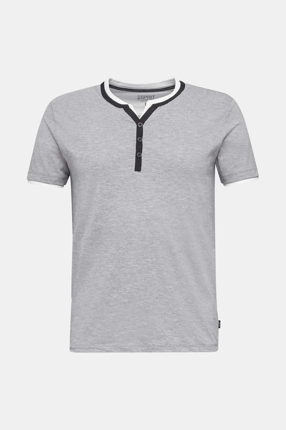 Jersey T-shirt with a Henley neckline, MEDIUM GREY 5, detail image number 6