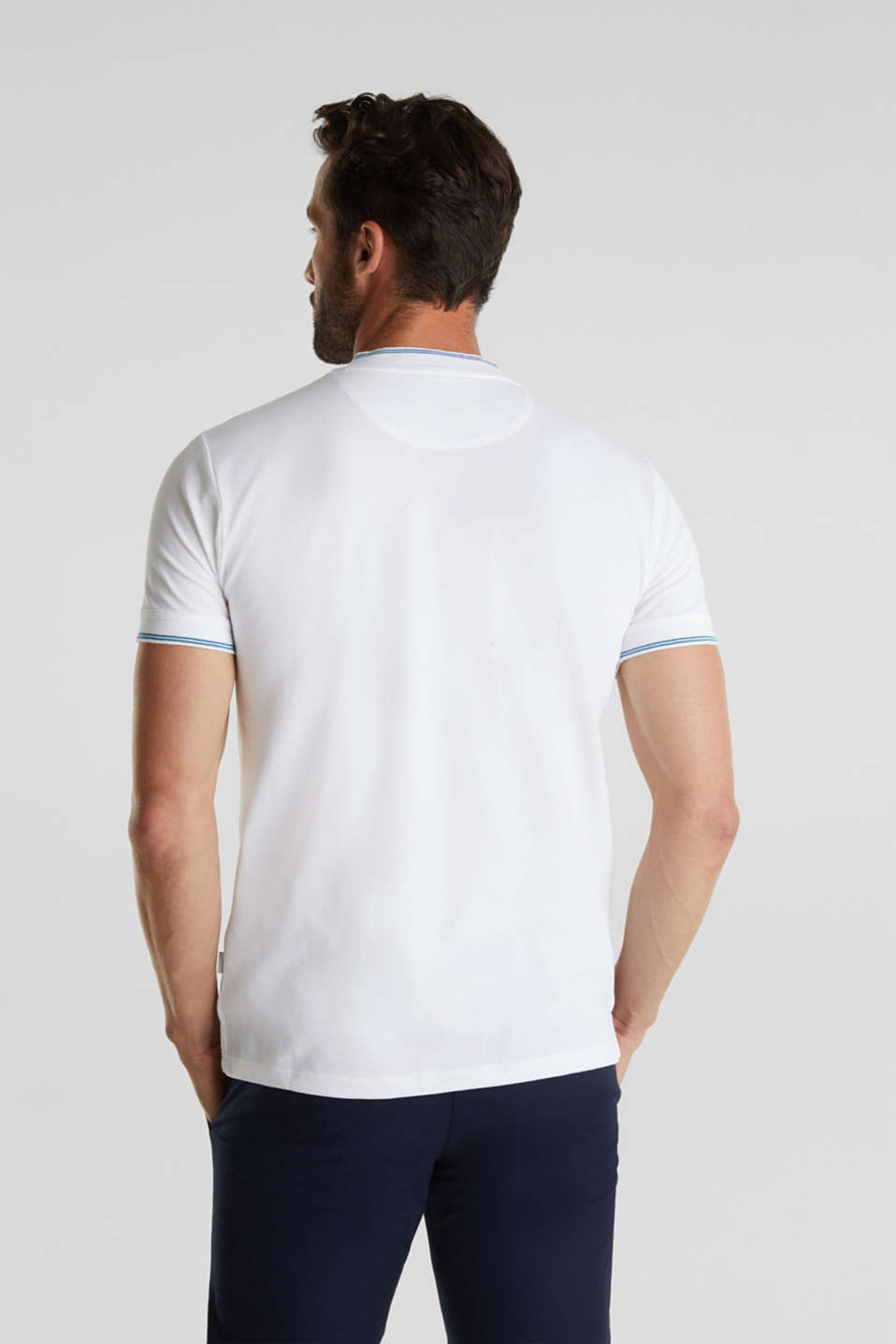 Piqué polo shirt with a stand-up collar, WHITE, detail image number 3