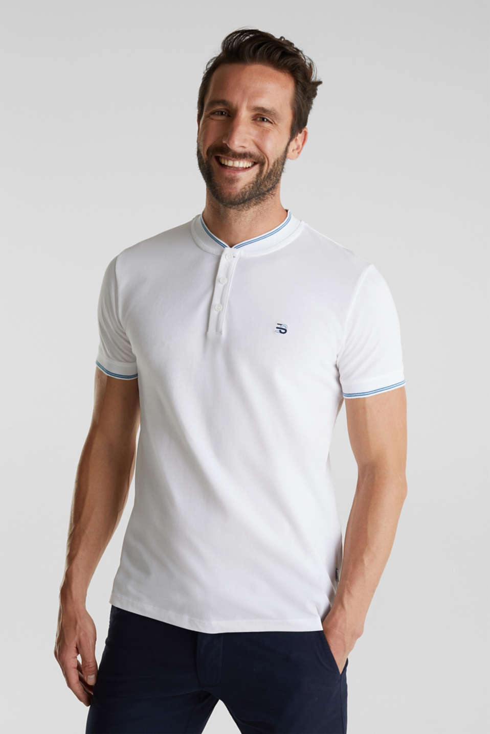 Piqué polo shirt with a stand-up collar, WHITE, detail image number 4