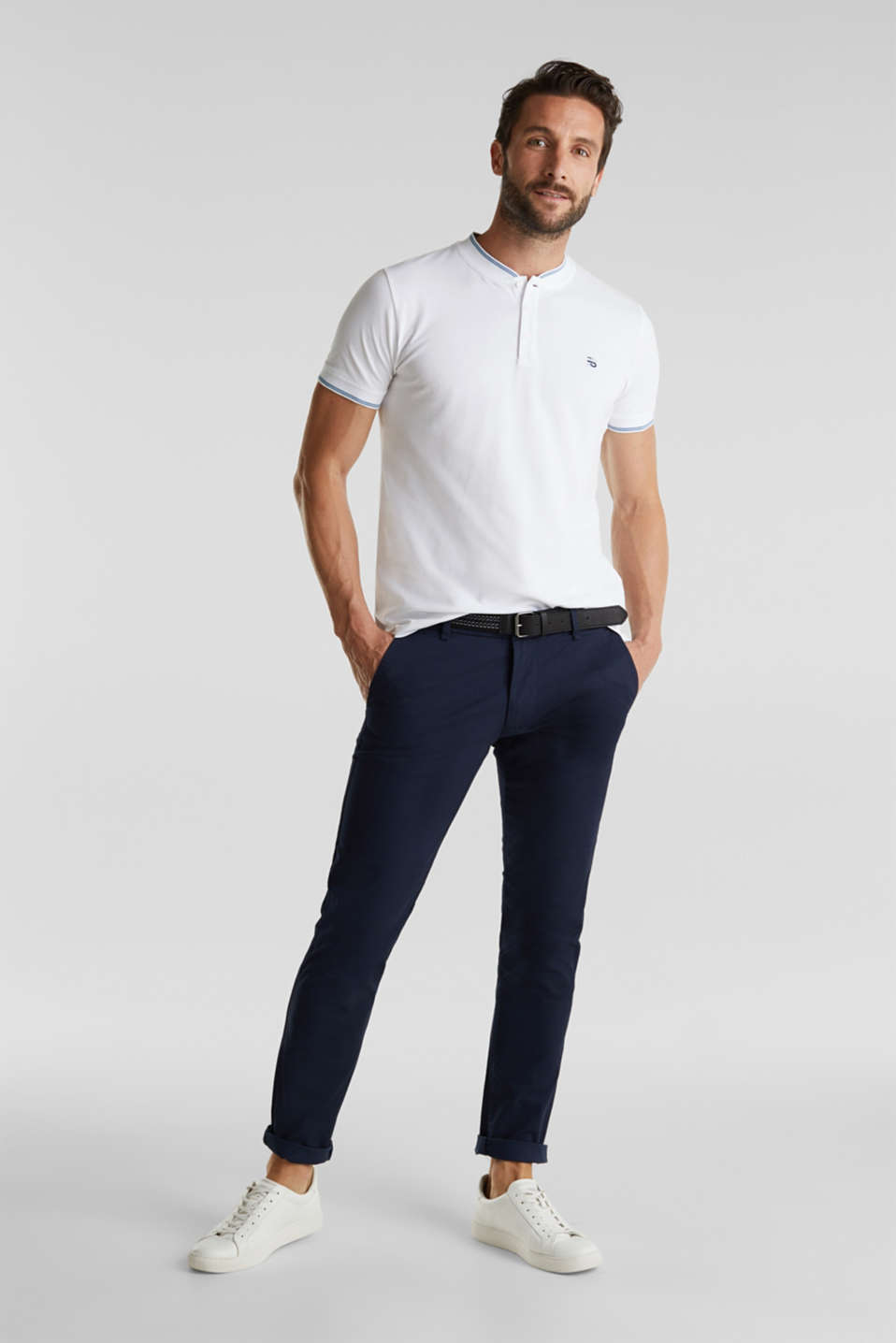 Piqué polo shirt with a stand-up collar, WHITE, detail image number 2
