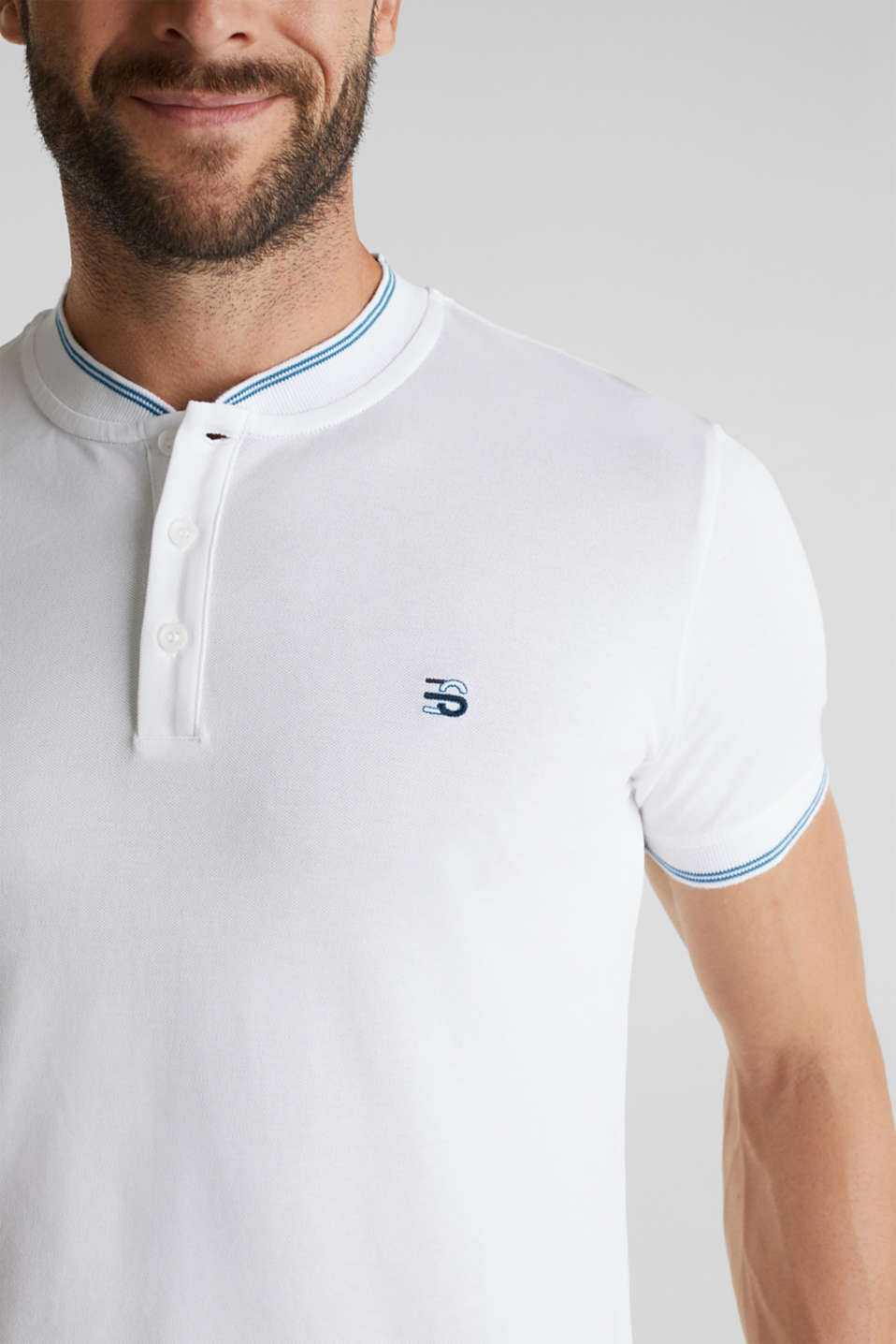 Piqué polo shirt with a stand-up collar, WHITE, detail image number 1